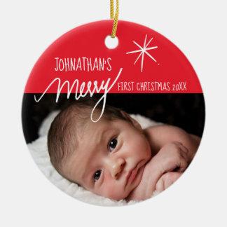 Rotes und weißes Foto fröhlichen | Babys erstes Keramik Ornament