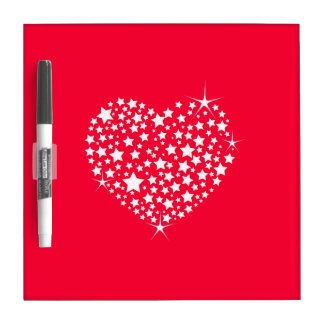 Rotes und weißes Glitzer-Herz Trockenlöschtafel