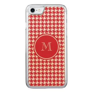 Rotes und weißes Hahnentrittmuster Ihr Monogramm Carved iPhone 8/7 Hülle