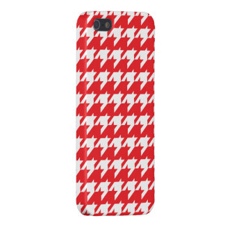 Rotes und weißes Hahnentrittmuster iPhone 5 Case