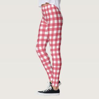 Rotes und weißes kariertes Muster Leggings