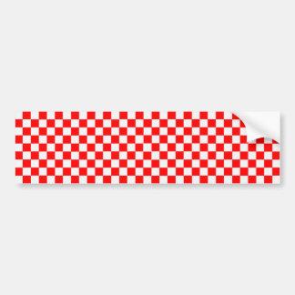 Rotes und weißes klassisches Schachbrett Autoaufkleber