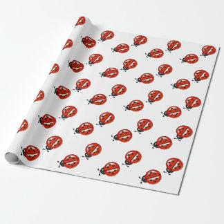 Rotes und weißes Marienkäfer-Packpapier Einpackpapier