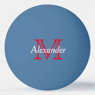 Rotes und weißes Monogramm auf Blau Tischtennis Ball