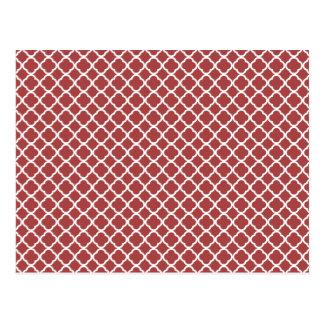 Rotes und weißes Morocan Gitter-Muster Postkarte