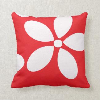Rotes und weißes Retro Blumen Kissen