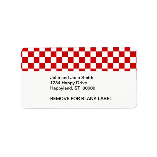 Rotes und weißes Schachbrett-Muster Adressetikett