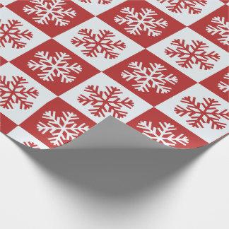Rotes und weißes Schneeflocke-Muster Geschenkpapier