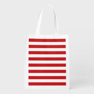 Rotes und weißes Streifen-Muster Wiederverwendbare Einkaufstasche