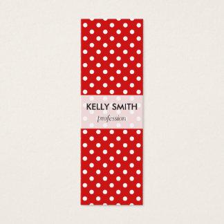 Rotes und weißes Tupfen-Muster Mini Visitenkarte