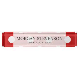 Rotes und weißes Tupfen-Muster Namensplakette
