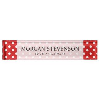 Rotes und weißes Tupfen-Muster Schreibtischplakette