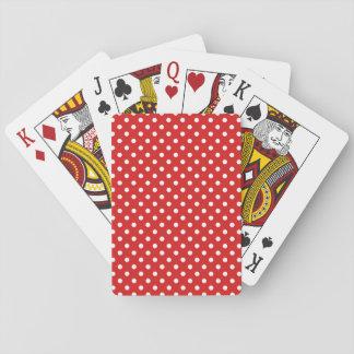 Rotes und weißes Tupfen-Muster Spielkarten