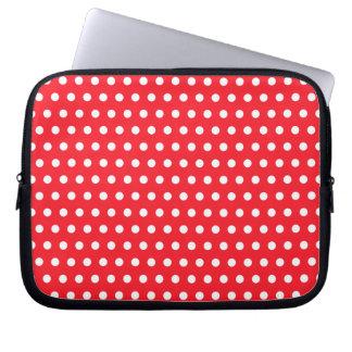 Rotes und weißes Tupfen-Muster. Spotty. Laptop Schutzhülle