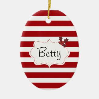 Rotes und weißes Weihnachtsmagie Ovales Keramik Ornament