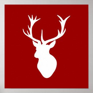 Rotes und weißes Weihnachtsrotwild-Hirsch-Kopf Poster