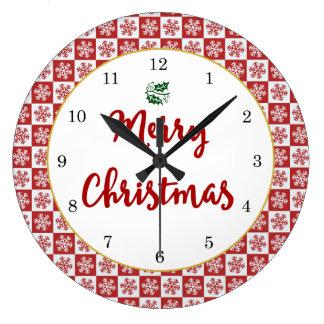 Rotes und weißes Weihnachtsschneeflocke-Muster Große Wanduhr