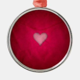Rotes Valentinsgrußherz Silbernes Ornament