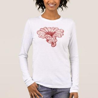 Rotes Vintages Blumen-Shirt Langarm T-Shirt