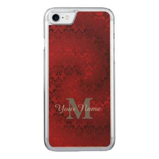 Rotes Vintages Damastmonogrammmuster Carved iPhone 8/7 Hülle