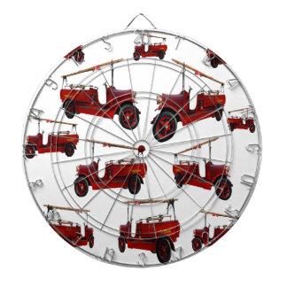 Rotes Vintages Feuer-LKW-Muster, Dartscheibe