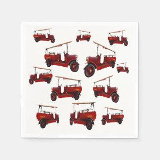 Rotes Vintages Feuer-LKW-Muster, Servietten