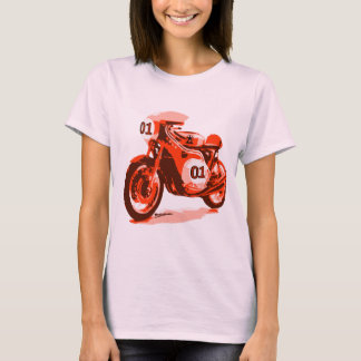 Rotes Vintages laufendes Motorrad T-Shirt