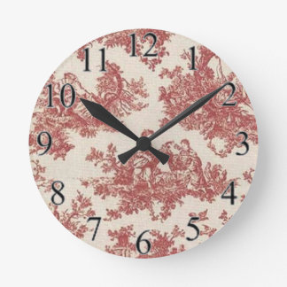 Rotes Vintages Toile Runde Wanduhr