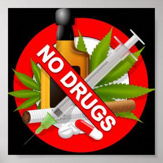 Rotes Warnzeichen mit Drogen Poster