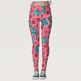 Rotes Watercolorpetunie-Blumenmuster Leggings