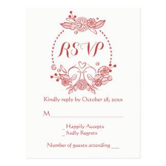Rotes Wedding Burgunder-UAWG BlumenWreathLovebirds Postkarte