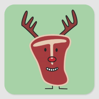 Rotes Weihnachten Nase des glücklichen Quadratischer Aufkleber