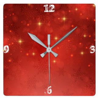 Rotes Weihnachten Quadratische Wanduhr