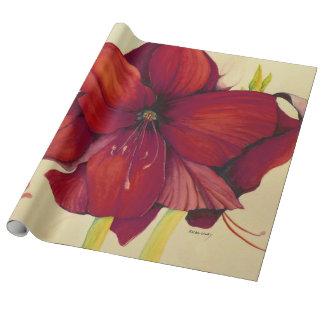 Rotes Weihnachtsamaryllis-Leinen-Packpapier Einpackpapier