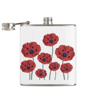 Rotes Weiß der Mohnblume Flachmann