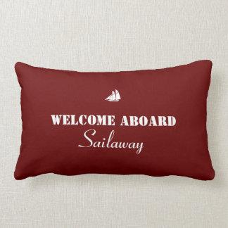 Rotes Weiß-Willkommen an Bord des Bootes nautisch Kissen