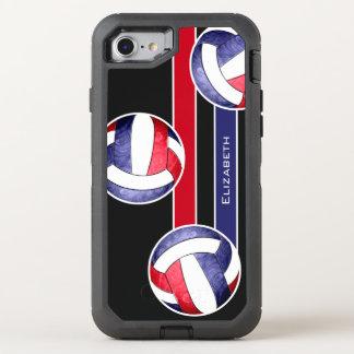 rotes weißes Blau des Volleyball der Frauen OtterBox Defender iPhone 8/7 Hülle