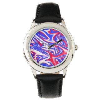 Rotes weißes Blau Marbleized Muster, Uhr