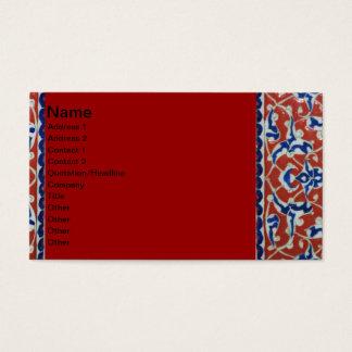 Rotes, weißes, blaues Iznik Tonwaren Visitenkarte