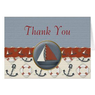 Rotes weißes blaues nautischSegelboot danken Ihnen Karte