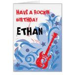 Rotes weißes der Rockin Gitarren-Geburtstagskarte  Karte