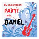 Rotes weißes der Rockin Gitarren-Party Einladung