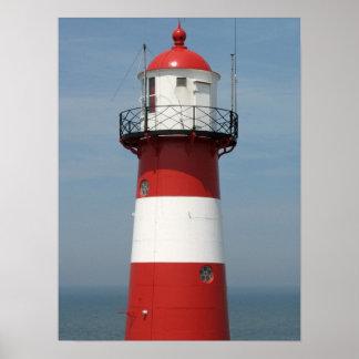 Rotes weißes gestreiftes Leuchtturm-SeeFoto-Plakat