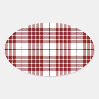 Rotes weißes kariertes Buchanan-Clan Tartan Ovaler Aufkleber
