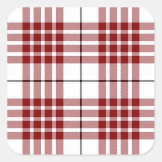 Rotes weißes kariertes Buchanan-Clan Tartan Quadratischer Aufkleber