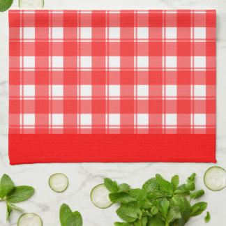 Rotes weißes kariertes Patten-Küchen-Tuch Küchentuch