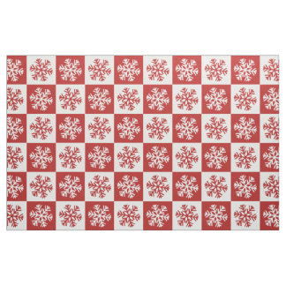 Rotes weißes Schachbrettschneeflocke-Druckgewebe Stoff
