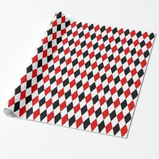 Rotes weißes schwarzes Harlekin-Diamant-Muster Geschenkpapier