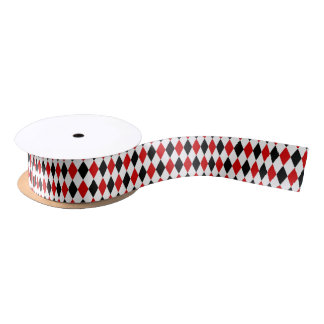 Rotes weißes schwarzes Harlekin-Diamant-Muster Satinband