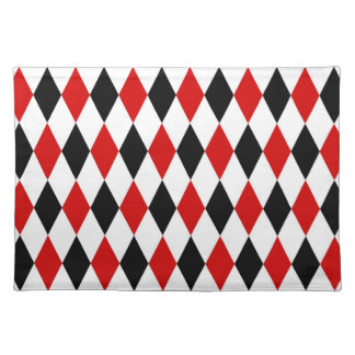 Rotes weißes schwarzes Harlekin-Diamant-Muster Tischset